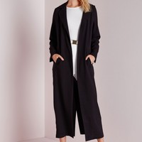 Missguided - Long Sleeve Maxi Duster Coat Black