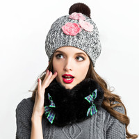 Winter Knitted Thick Beanie Flowered