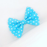 Spring Blue Hair Bow with Blue Polka Dots with Hair Accessory for Girls Teens Woman