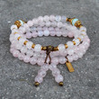Healing and Confidence, Pink quartz and amazonite gemstone 108 bead convertible mala necklace