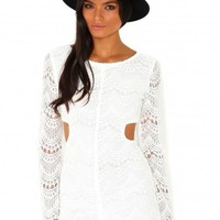 Missguided - Racquel Long Sleeve Cut Out Lace Playsuit