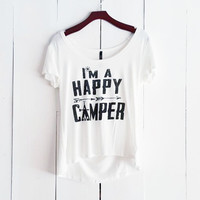 I'm a Happy Camper Tee, White