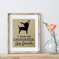 Personalized Burlap Dog Print | Chihuahua | Gift for Dog Lover | Chihuahua | My Dog |  Personalized Burlap Chihuahua Print | Chihuahua Art