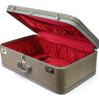 Dresner Suitcase with Ruby Red Interior / Stackable Luggage Home Decor / Tweed Suit Case / Large Suitcase