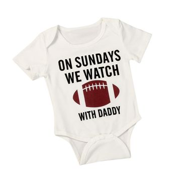 On Sundays, We Watch Football with Daddy | Toddler Baby Boy Girl Graphic One Piece Onesuit Bodysuit 6-18 Months