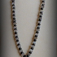 Quartz and Onyx Necklace. Madonna Pendant with Sterling Silver, Statteam