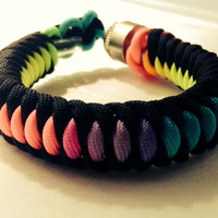 Black and Tie Dye 550 Paracord Stealthy Secret Pipe Bracelet w/ FREE SHIPPING
