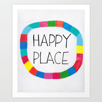 Happy Place Geometric Abstract Art Print by Karin Lauria