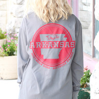 AR Razorbacks Southern Born + Raised L/S Tee {Grey}