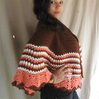 Multi-colored crochet poncho/ shawl /wrap / cape  Customizable
