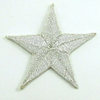 Star Silver Metallic Embroidered Iron-On 1.25""