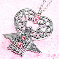 Sailor Moon Necklace - Inspired by Super Sailor Chibi Moon's Crystal Carillon - Silver Wing Heart Cage Sailor Moon Necklace Jewelry Gift