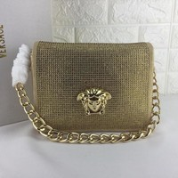 HCXX V0003 Versace Suede Diamante Chain Type Carrying Handbag 24-11-18cm Gold