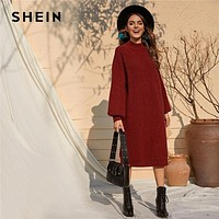 SHEIN Burgundy Solid Stand Collar Casual Tunic Sweater Dress Women Autumn Bishop Sleeve Ladies Straight Midi Winter Dresses