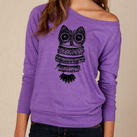 Vintage OWL Heathered Slouchy Pullover Shirt