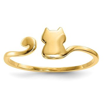 14k Gold Polished Cat Adjustable Cuff Ring