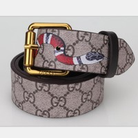 GUCCI Hot Sale Women Men Trending Design Retro Belt Snake Print Belt H