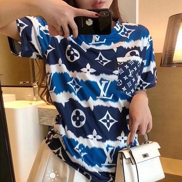 Louis Vuitton LV Loose t-shirt hit color printing and dyeing irregular bottoming shirt female couple short sleeve top T-shirt