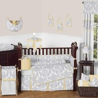 Avery Yellow and Gray Damask Baby Bedding 9 Pc Crib Set