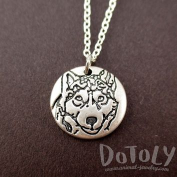 Round Engraved Siberian Husky Portrait Pendant Necklace | Animal Jewelry