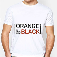 Orange Is The New Logo IF00 Mens T-shirt Black and White