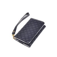 Black Faux Leather Purse Wallet Case Card Holder for iPhone 4 4G 4s 5