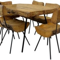 One Kings Lane - French 50s 60s - Sabino Wood Table & Chairs, Set