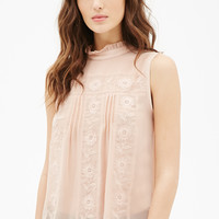 Floral-Embroidered Pleated Top