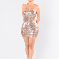 Mad About You Sequin Dress - Champagne