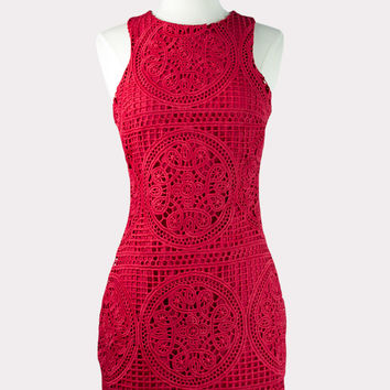 Red Crochet Dress