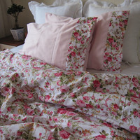 shabby chic Bedding Red green Pink roses floral print Full or Queen duvet cover with matching pillow cases - romantic bedroom