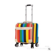 """Luxury Brand 17""""PU Leather Women Travel Luggage Boarding case Spinner Trolley Suitcase Men rolling luggage suitcase on wheels"""