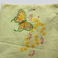 Vintage Tastemaker Yellow with Butterfly Pattern Twin Flat Sheet Set with Pillowcase 1975