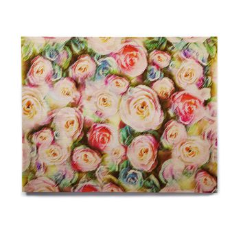 "Dawid Roc ""Pastel Rose Romantic Gifts"" Green Photography Birchwood Wall Art"