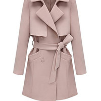 Black / Pastel Pink Structured Trench Coat