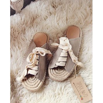 Laced Espadrilles in Sand