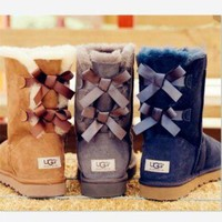 DCCK8X2 UGG:: bow leather boots boots in tube boots
