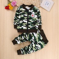 IENENS Kids Baby Infant Boys Girls Military Camouflage Coat + Trousers Clothing Sets Infant Child Boy Girl Clothes Suits Outfits