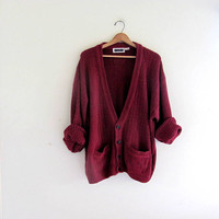 vintage oversized maroon knit cardigan sweater // knit button down // size XL