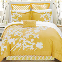 King Size Yellow 7 Piece Floral Bed In A Bag Comforter Set