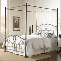 Full Size Complete Metal Canopy Bed with Scroll-work & Ball Finials