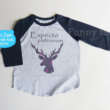 Harry Potter Expecto patronum magic spell raglan shirt for kids toddlers boys girls clothing size S M L XL