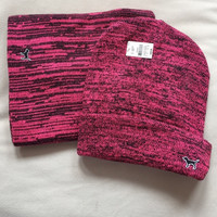 Victoria's Secret Pink/Black Hat And Scarf Set
