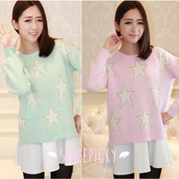 [3 Colors] Pastel Candy Color Stars Patterns Knitting Sweater Jumper Top Free Ship SP141587 from SpreePicky