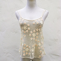 Urban Outfitters Ecote Daisy Crochet Strappy Tank Top XS