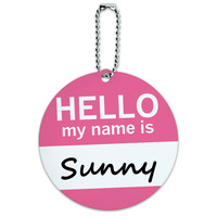 Sunny Hello My Name Is Round ID Card Luggage Tag