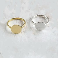Gold Color Anel Dainty Full Moon Rings Best Friend Gifts Coin Shaped Jewelry Stainless Steel Round Disc Signet Rings For Women