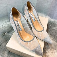 Jimmy Choo Fashionable Women Princess Pointed Sexy Lace High Heels Shoes