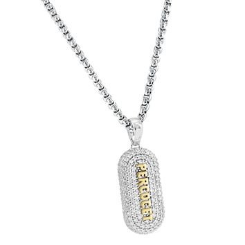 """14k White Gold Finish Percocet Pill Medicine Drug Iced Out Pendant Free 24"""" Chain"""