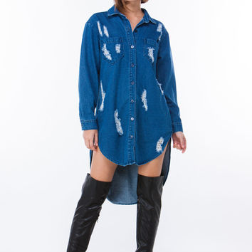 Destructed High-Low Denim Tunic GoJane.com